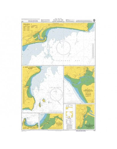 1512 - Wales - West Coast, Plans on the Lleyn Peninsula - Plan A) Pwllheli - Plan B) Saint Tudwal's Roads -Plan C) Approaches to Porthmadog -  Plan D) Porthmadog Harbour - Plan E) Mochras Lagoon - Plan F) Porth Dinllaen