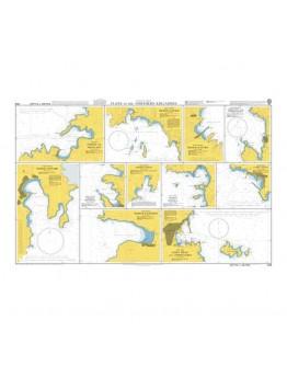 1538 - Aegean Sea – Greece, Plans in the Northern Kykládes - Plan A) Nísos Sífnos, Órmos Kamáres - Plan B) Nísos Sérifos, Órmos Livádi - Plan C) Nísos Mýkonos, Mýkonos and Approaches - Plan D) Nísos Sýros, Órmos Foínika -