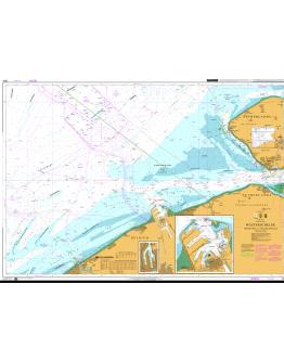 1874 - International Chart Series, North Sea, Westerschelde, Oostende to Westkapelle - Plan A) Brugge - Plan B) Zeebrugge Achterhaven - Plan C) Zeebrugge Voorhaven
