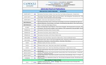 ADMIRALTY CHARTS NUOVE EDIZIONI DEL 03/10/2019
