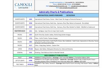 ADMIRALTY CHARTS NUOVE EDIZIONI DEL 10/10/2019