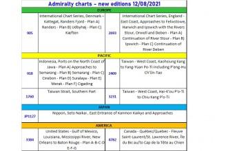 ADMIRALTY CHARTS NUOVE EDIZIONI 12/08/2021