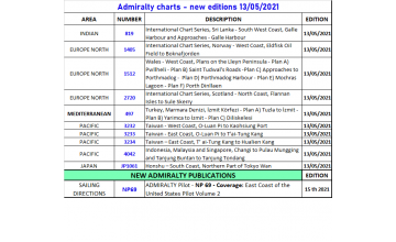 New Admiralty charts 11th May 2021