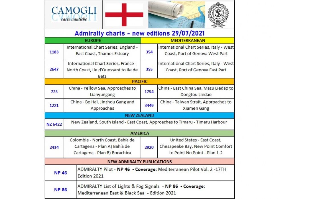 ADMIRALTY CHARTS NUOVE EDIZIONI 29/07/2021