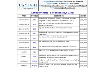 New Edition Admiralty Charts 18th of March 2021