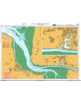 DE91 - International Chart Series, North Sea, Germany and Netherlands, River Ems, Dukegat to Emssperrwerk (Ems Flood Barrier)  - Emden