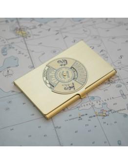 Portabiglietti da visita con calendario perpetuo in ottone
