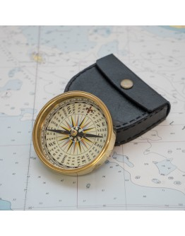 Paperweight pocket wooden and brass Compass with wooden inlay